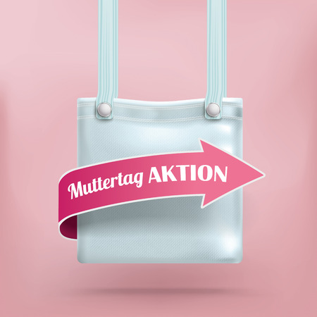 pocket book: German text Muttertag Aktion, translate Mothers Day Sale.