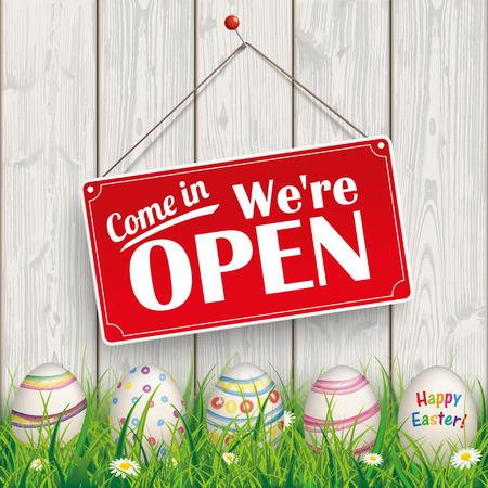 """Paaseieren, met rode hangende teken en de tekst """"com in, we open""""."""