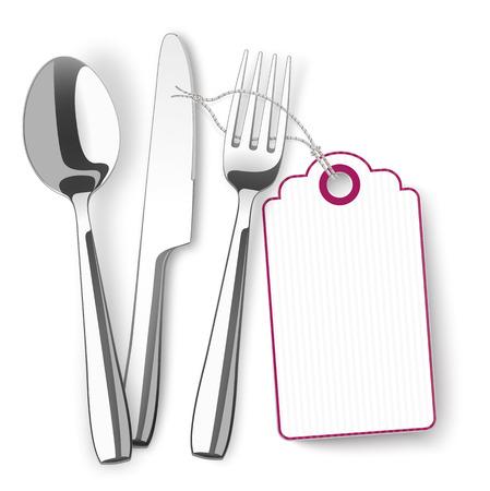 Silverware with purple price sticker on the white.