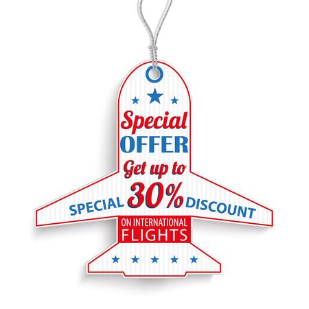 price sticker: Passenger flight price sticker with text on the white background. Illustration