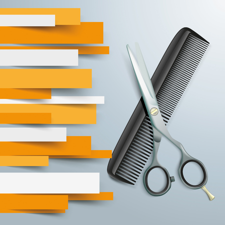 grey hair: Colored paper lines with scissors and comb on the gray background.