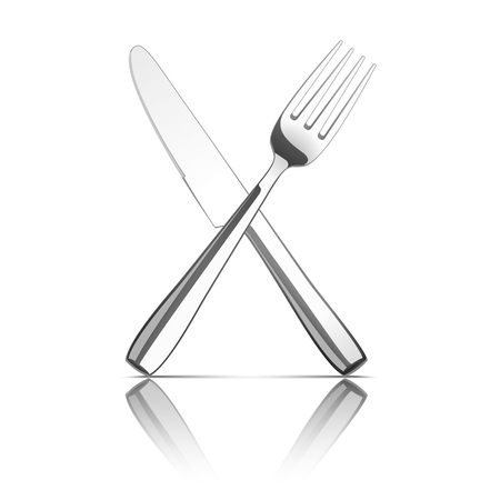silver reflection: Knife and fork on the white background.