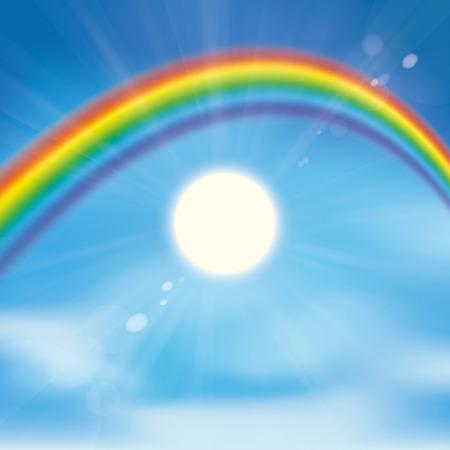 rainbow sky: Rainbow with clouds, blue sky and sun.