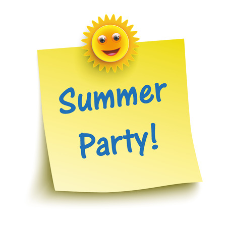 note board: Yellow stick with smiling sun and text Summer Party
