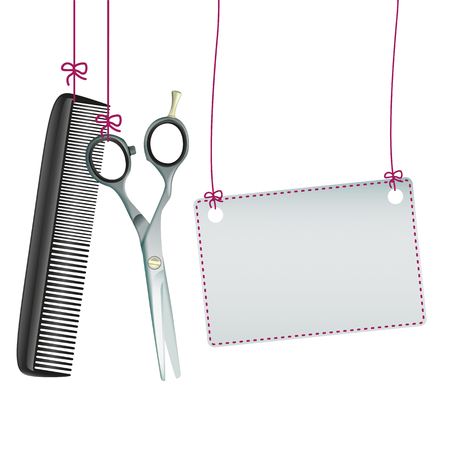 scissors: Hanging hairdresser tools with banner on the white background.