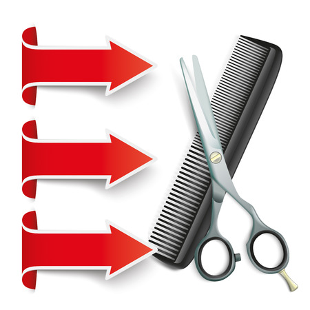 grey hair: Scissors and comb with red arrow banners  on the white.