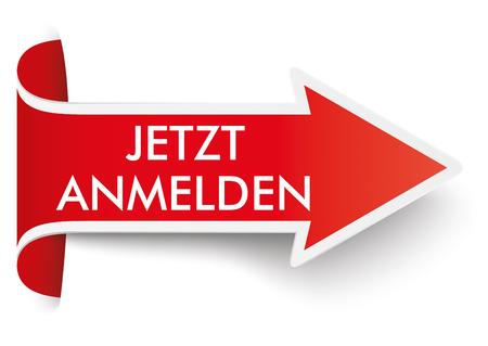 "German text ""jetzt anmelden"", translate ""register now"". Eps 10 vector file."