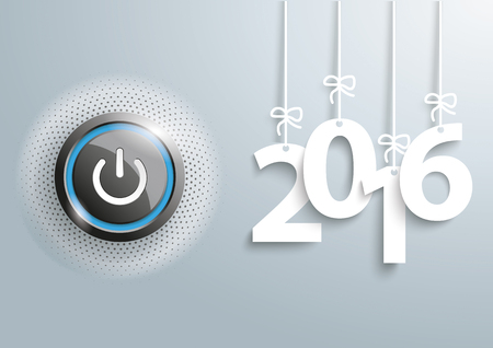 inception: Power button with hanging year numbers 2016 on the gray background.
