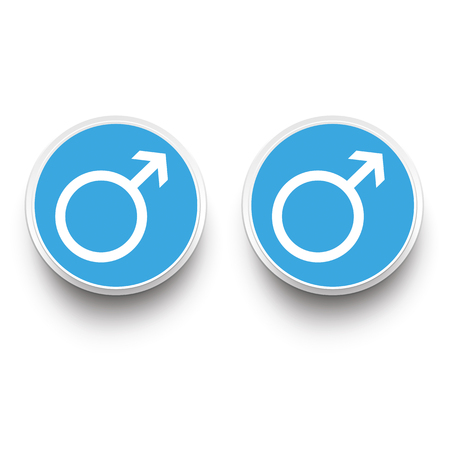 male friends: Gay paper buttons on the white background. Illustration