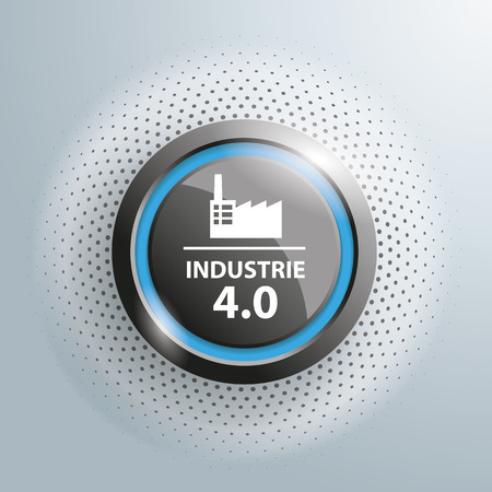 inception: Button with german text Industrie, translate Industry 4.0, on the gray background.