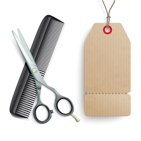 coiffeur: Scissors and comb with cart price sticker on the white.