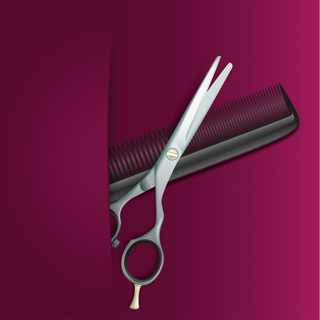 hair cutter: Brochure with scissors and comb on the purple background. Illustration