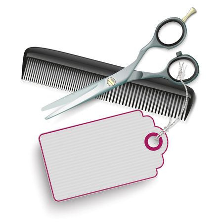 Scissors and comb with purple price sticker on the white.