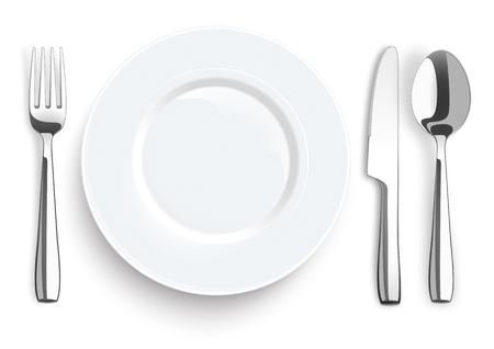 steel plate: Stainless steel knife, spoon and fork with plate on the white background. Eps 10 vector file.