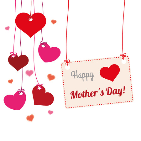 mothersday: Hanging hearts with frame and text Happy Mothers Day. Illustration