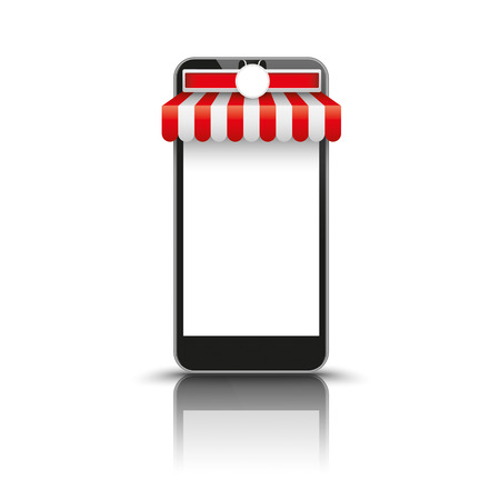 teléfono inteligente con toldo negro blanco rojo sobre el fondo blanco.