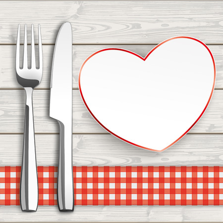 knife fork: Knife, fork and paper heart with checked table cloth on the wooden background.