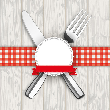 knife fork: Knife, fork with checked table cloth and emblem on the wooden background.