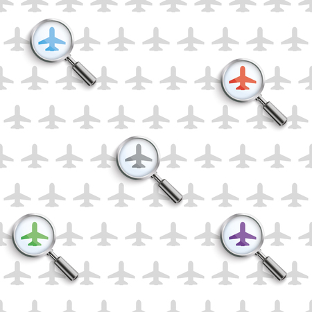 jets: Flights searching with loupe and jets pattern on the white background.