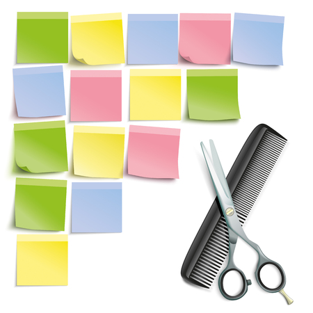 hair cutter: Scissors and comb with 4 yellow sticks on the white background. Illustration