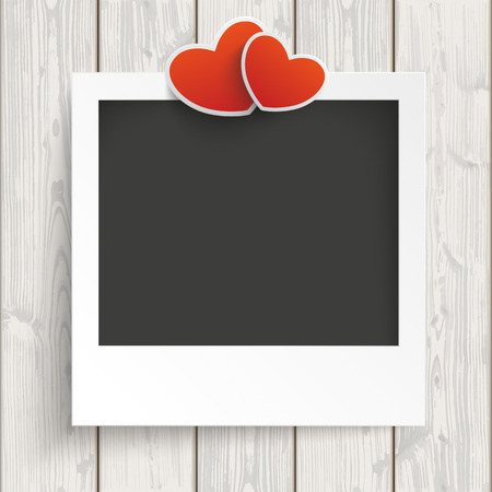 mothersday: Instant photo frame with 2 hearts on the wooden background. Illustration