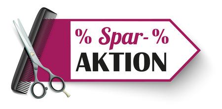 """German text """"SparAktion"""", translate """"Cost Cutting"""". Vektorové ilustrace"""