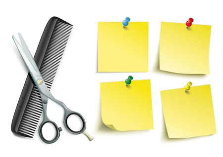 hair dresser: Scissors and comb with 4 yellow sticks with pins on the white background. Illustration