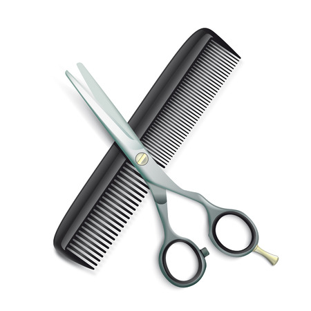 Scissors and comb on the white background. Stock Illustratie
