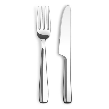Stainless steel knife and fork on the white background. Vettoriali
