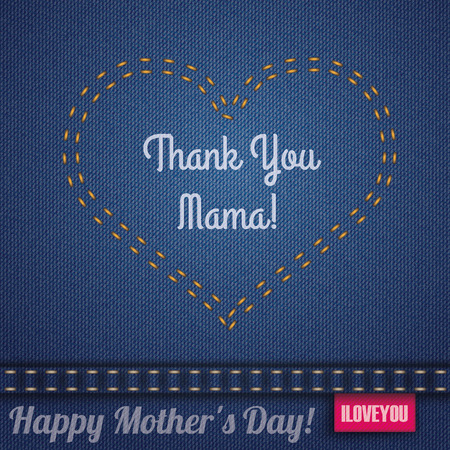 jeans fabric: Blue jeans fabric with heartshape double-stitched seam for Mothers Day. Illustration