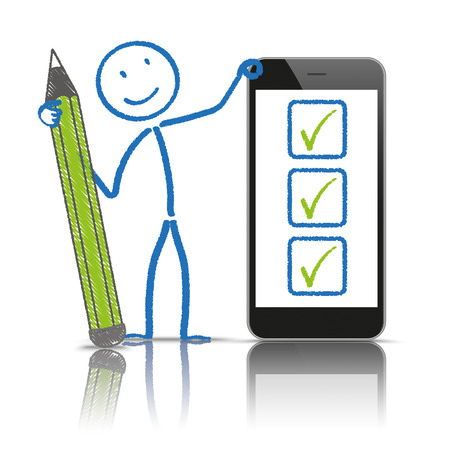 disposition: Stickman with pen checklist and smartphone on the white background. Illustration