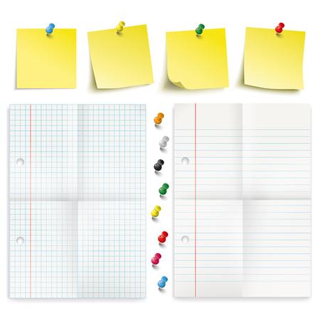 Infografika z żółtych naklejek, kolorowe szpilki i 2 kart na białym tle
