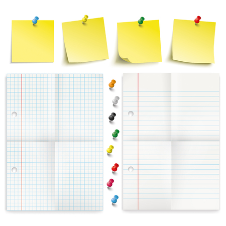 Infographic with yellow stickers, colored pins and 2 papers on the white background