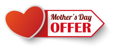 Herz mit Etikett und Text Muttertag Angebot.