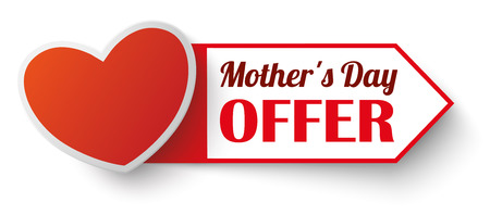 Heart with label and text Mothers Day Offer. Illustration