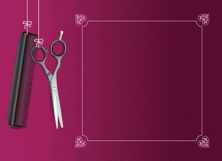 Hanging Strumenti di parrucchiere con telaio d'epoca su sfondo a strisce viola.