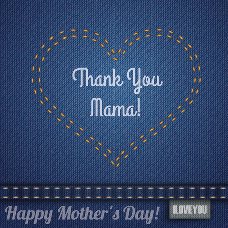 loving: Blue jeans fabric with heartshape double-stitched seam for Mothers Day. Illustration