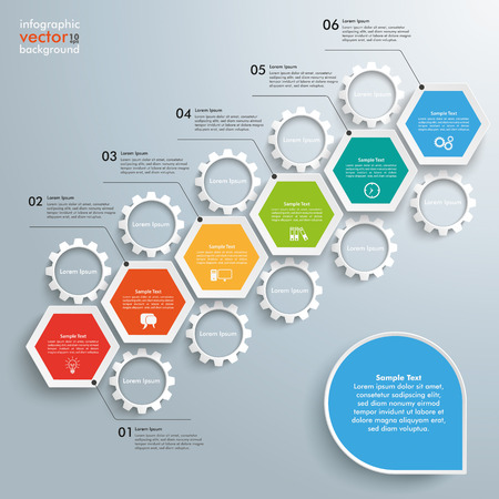 six objects: Infographic with hexagons and gears on the gray background. Illustration