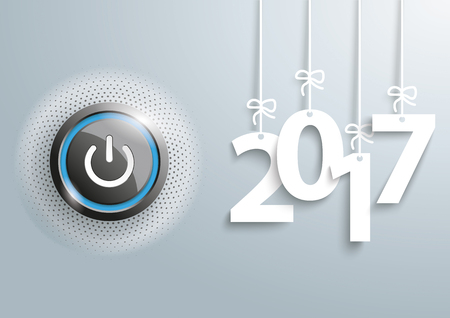 energize: Power button with hanging year numbers 2017 on the gray background.