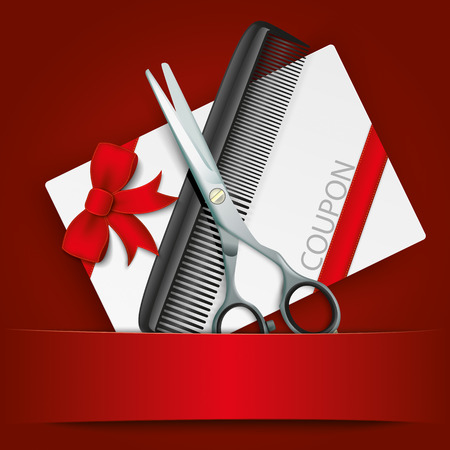 coiffeur: Coupon card with scissors and comb on red background.