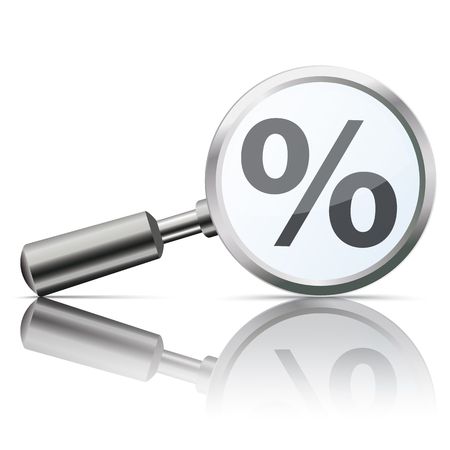 percent: Loupe with percent on the white background.