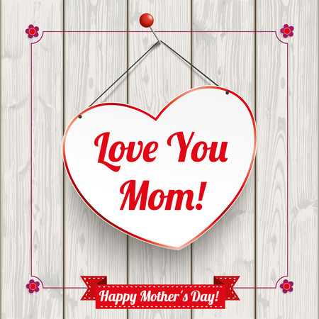 slats: Hanging Heart with vintage frame for Mothers Day on the wooden background.
