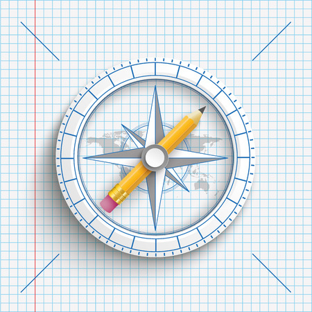 checked: Compass with pencil on the checked paper background.