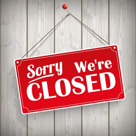"""Rode hangende bord met de tekst """"Sorry, we zijn gesloten"""". Vector Illustratie"""