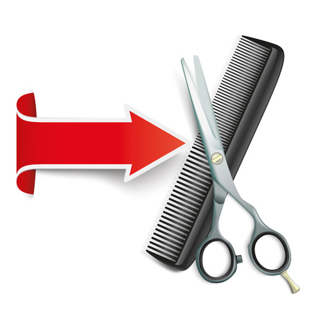 hair dresser: Red arrow with scissors and comb on the white Illustration