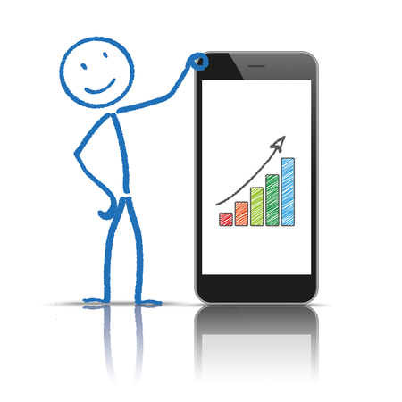 mirroring: Stickman with smartphone and growing chart on the white background.