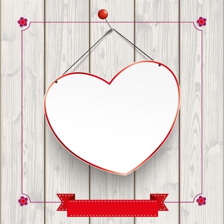 laths: Wooden background with flowers, hanging heart and vintage frame. Illustration
