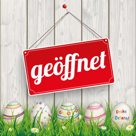cover background time: German text geoeffnet, Frohe Ostern, translate open, Happy Easter. Illustration