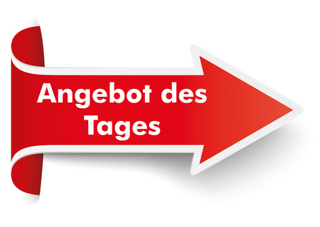 advertisements: Red arrow with german text Angebot des Tages, translate todays special. Illustration