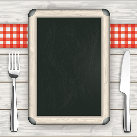 knife fork: Knife, fork, and plate with blackboard on the wooden background. Illustration